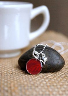 RED LEAF NECKLACE - Recycled Gift Card, Starbucks Necklace, Coffee Charm, Sterling Silver Pendant, Starbucks Jewelry