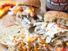 Root Beer Pulled Pork with Peach Slaw