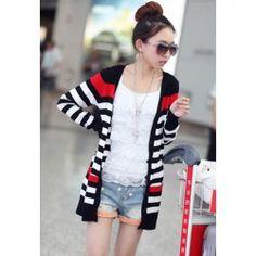 $9.40 Casual Style V-Neck Slimming Pocket Design Long Sleeve Knitting Stripe Long Cardigans For Women