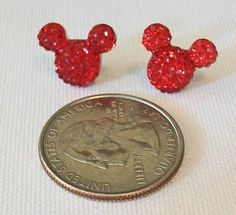 Small Ruby Red Minnie Mouse Shaped Pierced Earrings #minniemouse #red #etsy #earrings #cute #rubyred