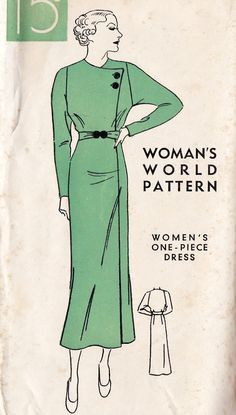 Women's Plus Size Dress Vintage Sewing Pattern, Winter Fashion, Antique… 1930s Fashion, Look Fashion, Vintage Fashion, Dress Fashion, Winter Fashion, Vintage Sewing Patterns, Clothing Patterns, Dress Patterns, Clothing Styles