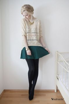 Beige Geometric Eyelet Embellished Knit Jumper Sweater with the dark green skirt, black tights, and black shoes. Beige Outfit, Black Women Fashion, Look Fashion, Womens Fashion, High Fashion, Fashion Clothes, Skirt Outfits, Fall Outfits, Cute Outfits