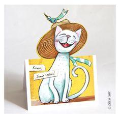 2 x Bastel-Postkarte KATZE von Katrinas Kartensalon auf DaWanda.com