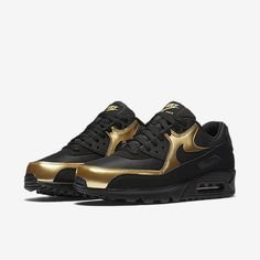 buy online 32043 1aa33 Clearance Nike Air Max 90 Men Black Gold Online Store -  62.00