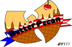"""Butter Pecan (Flag)"" - a redesign of the infamous ice cream logo from the song, ""Ice Cream"" for hip-hop star, Ghostface Killah. It was a great honor and pleasure for me when I was asked to redesign the ice cream logos for Ghostface Killah, a member of the Wu. If you have not heard the song before, go to YouTube and search ""Wu-Tang Ice Cream"".  The logos are printed onto t-shirts for women and sold on GFK's official merchandise store."