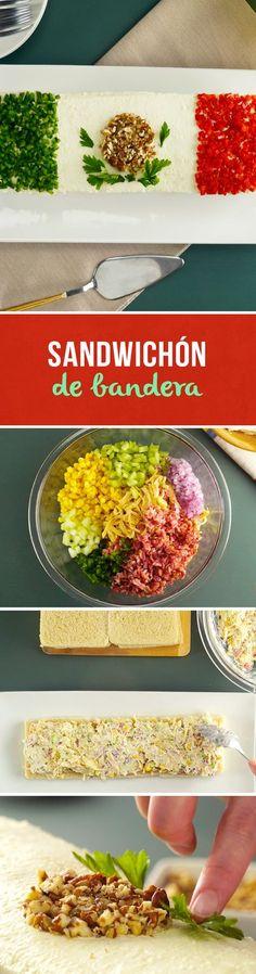 Si buscas una receta fácil y rendidora para tus reuniones este #mundial, prueba este Sandwichón de bandera de México. Es una forma diferente de comer sándwich y verduras en Fiestas Patrias o en una fiesta mexicana temática.