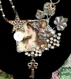 beautiful necklace assemblage mixed media, jewelry collage with pearls and rhinestones vintage pieces