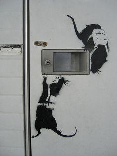 Banksy Work, Banksy Rat, Street Art Banksy, Bansky, Graffiti, Stencil Art, Stencils, Painted Clothes, Creativity And Innovation