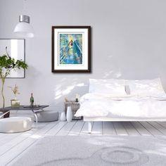 #designers #interior #framedart #Prints #blues #teal Accent Walls In Living Room, Accent Wall Bedroom, Blue Bedroom, Framed Art, Framed Prints, Bedroom Artwork, Blue Artwork, Canvas Art, Canvas Prints