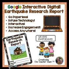 Great for Chromebooks!  A complete Earthquake Research Report utilizing file sharing with Google or Microsoft OneDrive.  Printable version included! Use this report to engage students either in the classroom or at home using a 1:1 device environment.  This original product is provided through web-based Google file sharing, contained on the Internet 'cloud' and allows you and your students to access, edit, and print files from any computer or device.