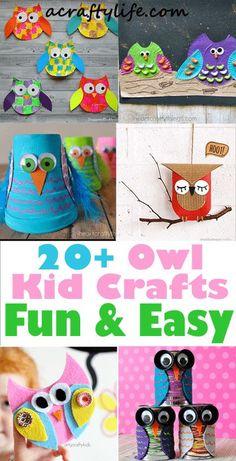 owl kid crafts - crafts for kids - kid craft -#kidscraft #preschool #craftsforkids acraftylife.com