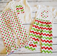 Christmas Pajamas Red Green Chevron Polka Dot by littlespudboutique on Etsy https://www.etsy.com/listing/169320406/christmas-pajamas-red-green-chevron