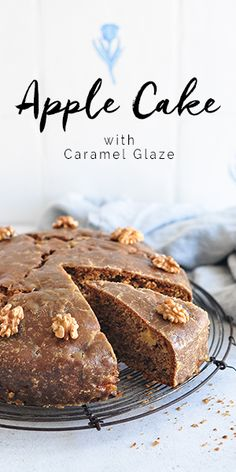 Easy Apple Spice Cake studded with chunks of fresh apples and walnuts, and covered in a delicious Caramel Glaze. Apple Cake Recipes, Delicious Cake Recipes, Best Cake Recipes, Healthy Recipes, Cupcake Recipes, Yummy Cakes, Cupcake Cakes, Dessert Recipes, Apple Cakes