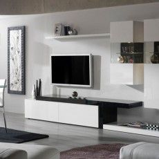 Mueble moderno con vitrinas, estante y tarimas