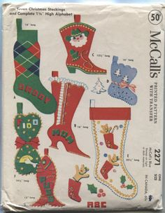 McCalls 2271 a 1958 Christmas Stockings for the Whole Family , Uncut with Transfers
