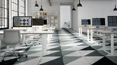 Overlap is a glazed porcelain stoneware collection offered in many timeless shades, patterns and sizes. Overlap offers the nostalgia of the trendy retro geometrical tiles combined with colors overlapping the texture. The contrast with the reflecting slick metallic finish creates a beautiful and rich worn-out effect, offering a unique and eclectic touch to your project. #office #floor #geometric