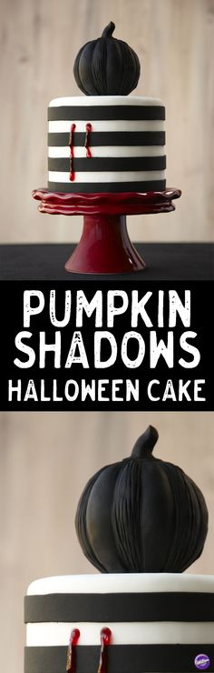 How to Make a Pumpkin Shadows Halloween Cake - Make a unique cake that will surely be a wicked centerpiece at your Halloween party! This Pumpkin Shadows Halloween Cake is topped by a black fondant-covered pumpkin baked in the Dimensions® Multi-Cavity Mini Pumpkins Pan. Insert end of brush in round cake side and squeeze red decorating gel into holes for bite marks effect.