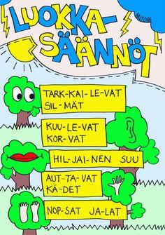 Luokkasäännöt AOP. Think, Team Building, Social Skills, Grade 1, Classroom Decor, Classroom Management, Finland, Back To School, Teacher