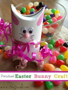 Preschool Easter Bunny Crafts - SheSaved®️️️️️️️  This is so easy to make and just adorable! A fun craft for kids or party favor.