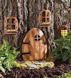 Adding little doors and windows to the base of trees is a great start to creating a magical fairy garden.