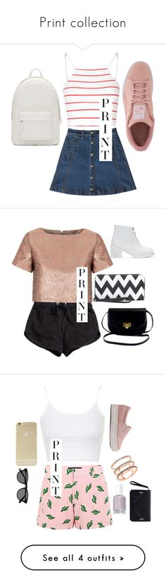 """""""Print collection"""" by caterinaranieri ❤ liked on Polyvore featuring Glamorous, Bebe, Puma, PB 0110, H&M, MM6 Maison Margiela, American Retro, Topshop, EF Collection and Sonix"""
