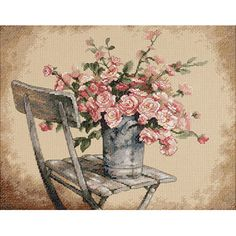 Dimensions Roses On White Chair Counted Cross Stitch Kit, 14 x 11