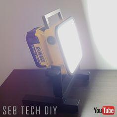 DIY 2000 Lumens cordless LED light.  Works with dewalt 20V battery platform.  I made this from a non functional drill (impact). Easily attach to any standard tripod. Watch my tutorial on Youtube ;) Thanks!! :) #diy #led #ledlights #tools #dewalt #light #usb #powerbank #dewalttough #toughinthenorth #lighting #construction #doityourself #20v #12v #60v #flexvolt #3528
