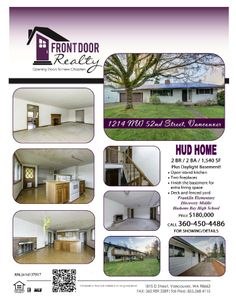 Real Estate For Sale: $180,000-2 Bedroom, 2 Bath, 1540 SF Cosmetically Challenged One Level HUD Home w/Daylight Bsmnt on .17 Acre Lot in Vancouver, WA! Thanks for sharing Julie Baldino, Front Door Realty, Vancouver, WA!     #RealEstate #ForSaleRealEstate #RealEstateForSale #VancouverRealEstate #RealEstateVancouver #HUDRealEstate #RealEstateHUD #HUDHome #CosmeticallyChallengedRealEstate #RealEstateCosmeticallyChalleneged #OneLevelHome #DaylightBasement #NorthwestVancouverRealEstate
