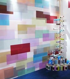 Japanese semi-transparent wall tapes overlap to form an infinite number of blends