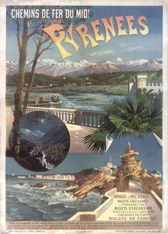 Chemins de fer du Midi - Pyrénées - illustration de F. Hugo d'Alesi - 1895…