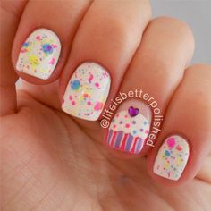 Cute Cupcake Accent Nails by Instagram's @lifeisbetterpolished, Glitter Nail polish, Rhinestone Nail Art, White, Pink, Cool Nail Designs, Nail it! Magazine