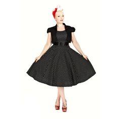 2d6c88798ab Šaty s bolerkem Vivian Black White Polka Šaty ve stylu 50. let z londýnské  dílny