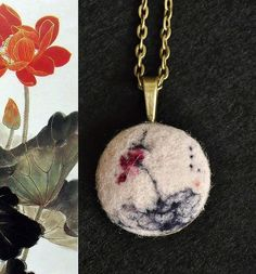 "Exquisite felt wool necklace ""Asian Brush painting Lotus flower"" - Micro felt wool work by isletjewellery, via Flickr"