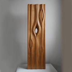 Wood #sculpture by #sculptor Liliya Pobornikova titled: 'Rain 1 (abstract Raindrops Carved Wood sculpture)'. #LiliyaPobornikova