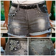 DIY Embellished Shorts. These have got to be some of my favorite altered shorts I've seen. The shorts have: metal beads, studs, sequins, chains, a pin, silver mesh, ribbon threaded chain etc… Tutorial and more photos at Crimenes de la Moda here. *Go down the page for Google translator. Thank you Chic Steals for featuring this site! Also, wonder if I'll see these shorts featured on a certain site tomorrow.