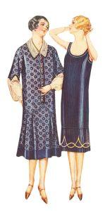 Two casual 1920's dresses for plus size women. http://www.vintagedancer.com/1920s/1920s-plus-size-fashion-history/