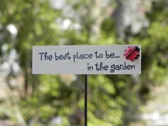 Fairy Garden Sign accessories  miniature the by TheLittleHedgerow, $7.50.  Butterfly crossing would also be a good sign