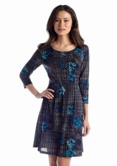 Kim Rogers  Petite Knit Smocked Side Dress