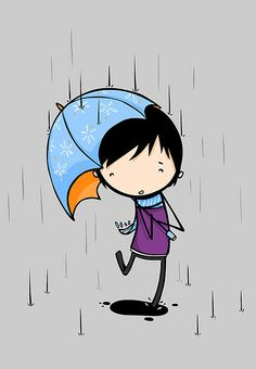 I LOVE this. The simplicity, the colors, the rain and the umbrella, the cute hair. =)