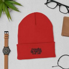 Parenting On Purpose Is My Jam - Cuffed Beanie - Red
