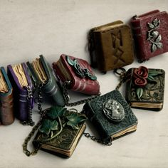 The 7th edition of my miniature polymer clay book pendants, all done and listed in my shop.
