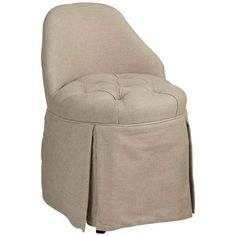 Cream Skirted Vanity Stool -