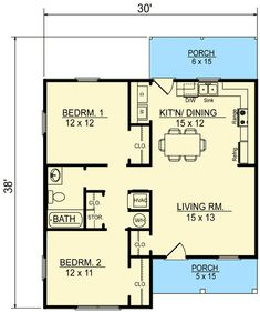 This cottage design floor plan is 856 sq ft and has 2 bedrooms and has 1 bathrooms. Small Cottage Homes, Small Tiny House, Small Cottages, Tiny House Living, Small Homes, Little House Plans, Dream House Plans, Little Houses, Tiny Houses