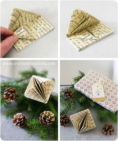 In this video, you'll learn how to make a Heart Envelope Origami which opens like a box. It really is an Origami special. Folded Book Art, Book Folding, Christmas Origami, Christmas Gift Wrapping, Christmas Books, Christmas Crafts, Christmas Ornaments, Christmas Ideas, Christmas Pictures