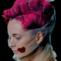 Pink hair and veil