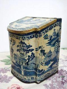 ♥ ~ ♥ Blue and White ♥ ~ ♥ Vintage Tea Tin Blue Willow Decoration Hinged Slanted Top Ridgways Tea 5 o'Clock Victorian