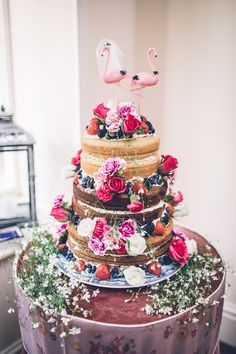 Quirky Kitsch Naked Cake Sponge Layer Flamingos Topper Flowers Victoria Retro 1950s Vintage Wedding http://amyfaithphotography.com/ Photography   Amy Faith Photography