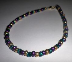Multi-Color Beaded Anklet  Gold Green Purple by MandyPandyGiftShop