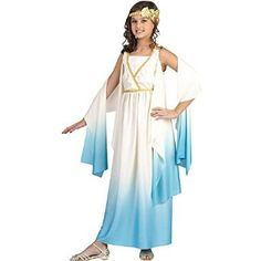 Book Week #US Girls Fancy Dress Costume Roman Goddess ,Greek Toga Medium