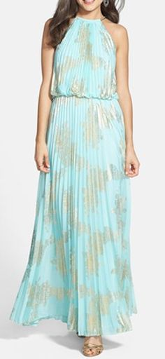Gorgeous #mint & #gold pleated dress http://rstyle.me/n/f7k5qnyg6